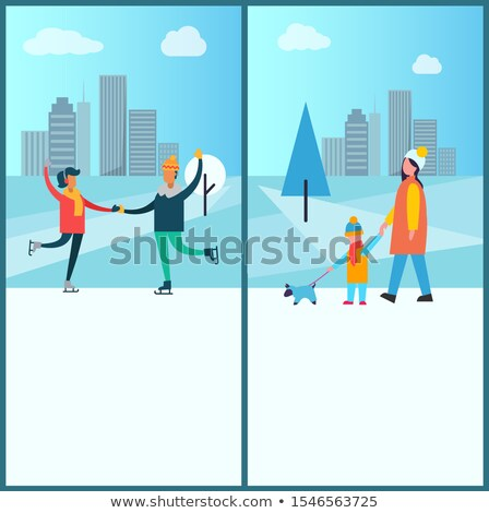 Szczęśliwy para spaceru wraz wieżowce wektora Zdjęcia stock © robuart