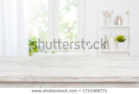 Eettafel witte hout metaal kantoor tabel Stockfoto © magraphics