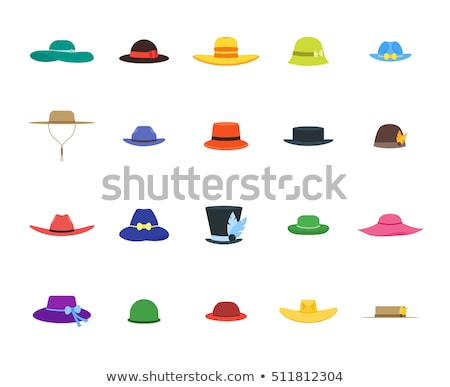 Cartoon derby chapeau blanc noir illustration souriant Photo stock © bennerdesign