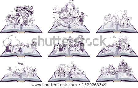 Set of open books fairy tales illustration. Cinderella, Inch, Snow Queen, Bremen Town Musicians Stock photo © orensila
