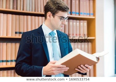 abogado · pie · biblioteca · ley · libro · retrato - foto stock © kzenon