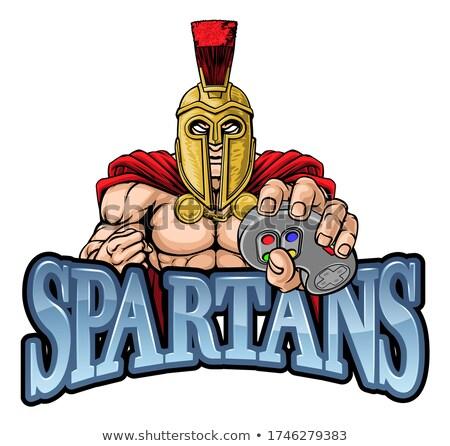 Espartano troiano gladiador mascote guerreiro Foto stock © Krisdog