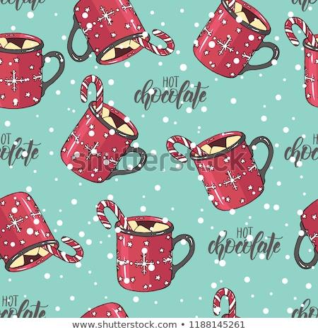 Noel sıcak çikolata şeker can kağıt ambalaj Stok fotoğraf © balasoiu
