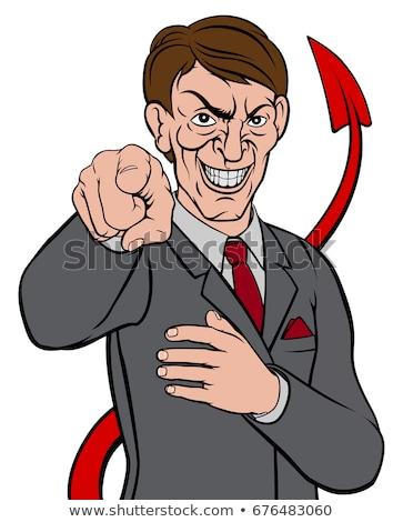 дьявол зла бизнесмен костюм указывая сатана Сток-фото © Krisdog