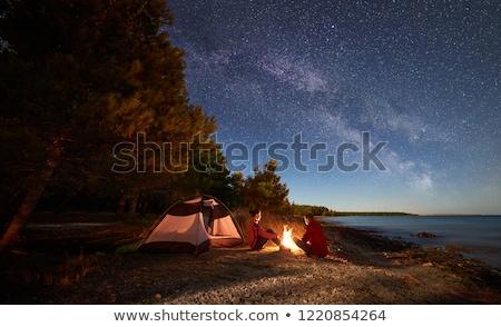 Camping tenda floresta noite estrelas verde Foto stock © dashapetrenko