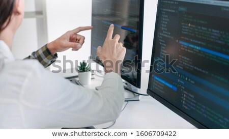 Fiatal startup ül dolgozik számítógépek képernyő Stock fotó © snowing