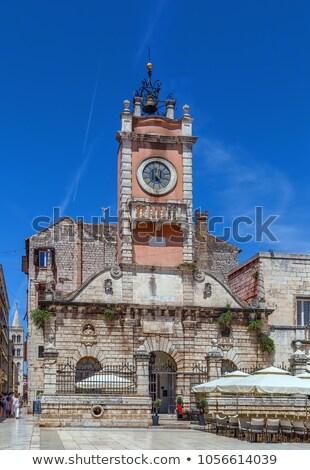 Cidade guarda Croácia relógio torre céu Foto stock © borisb17