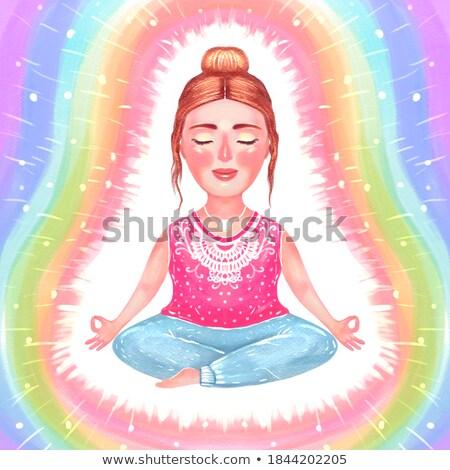 woman doing yoga in lotus pose with rainbow aura Stock photo © dolgachov
