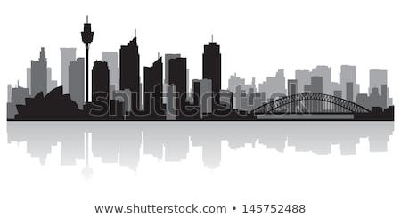 Sydney zwart wit silhouet toerisme presentatie Stockfoto © ShustrikS