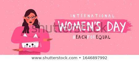Женский день равный розовый женщину баннер международных Сток-фото © cienpies