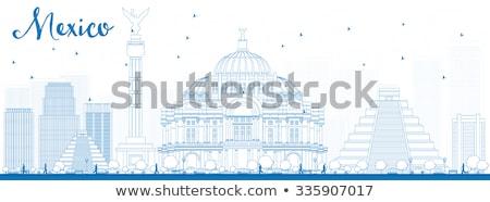 Outline Mexico skyline with blue landmarks Stock photo © ShustrikS