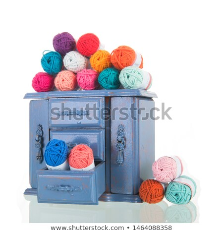 Blue vintage cabinet with wool Stock photo © ivonnewierink