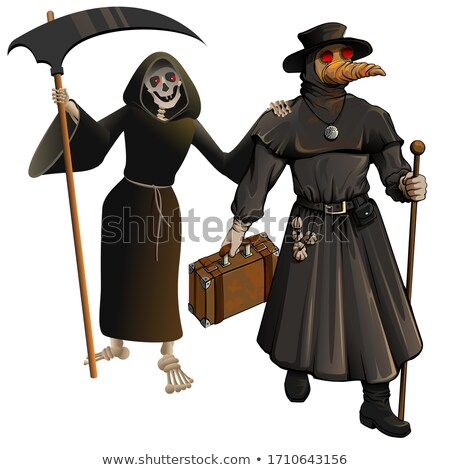 Medieval doctor in protective suit and grim Reaper. Epidemic character cartoon Stock photo © orensila
