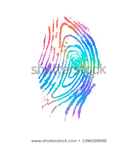 Gedetailleerd vingerafdruk holografische kleuren witte geïsoleerd Stockfoto © evgeny89