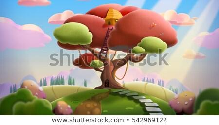 Bajki drzewo domu cartoon stylu biały Zdjęcia stock © bluering