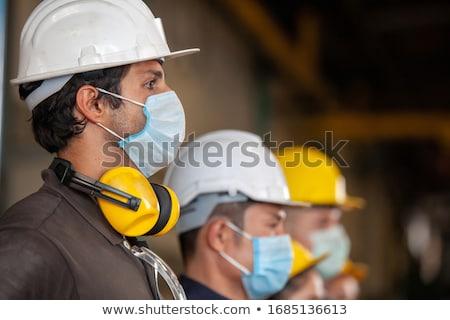 Construção trabalhadores trabalhar edifício metal Foto stock © deyangeorgiev