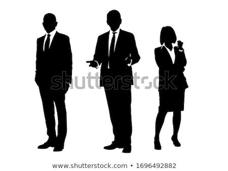 Los trabajadores de oficina siluetas negocios papel hombre mujeres Foto stock © Vg