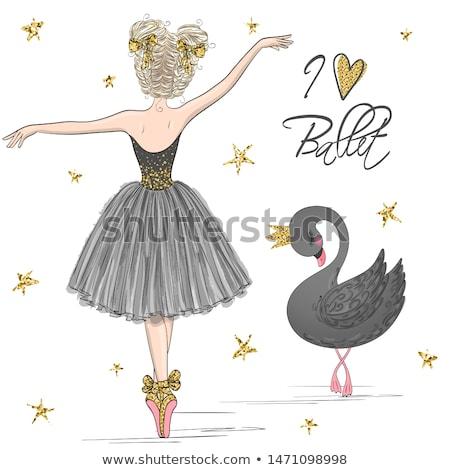 Danser meisje roze zwarte kostuum geïsoleerd Stockfoto © pekour