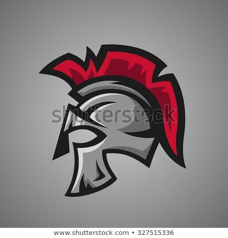 Espartano troiano capacete mascote vetor imagem Foto stock © chromaco