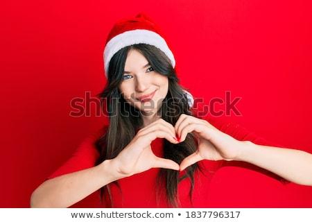 jóvenes · mujer · hermosa · Navidad · sombrero - foto stock © HASLOO