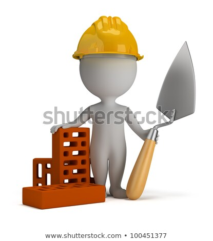 3d small people   builder in the helmet stock photo © anatolym