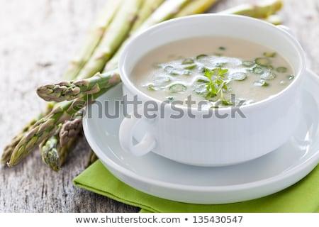 spárga · nő · tart · mutat · közelkép · egészséges · étkezés - stock fotó © m-studio