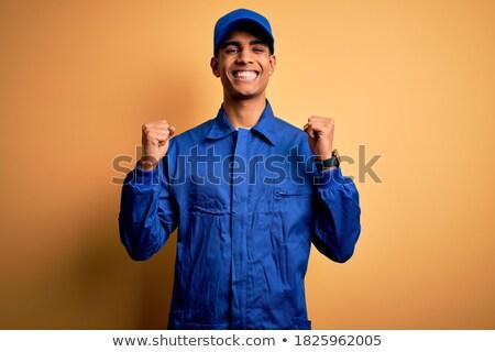 Verwonderd ambachtsman schreeuwen handen werk pak Stockfoto © photography33