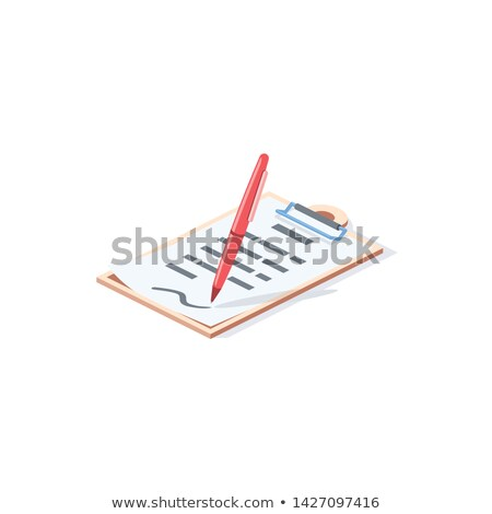 Stock photo: Clipboard with Checklist and Pen. Side view.