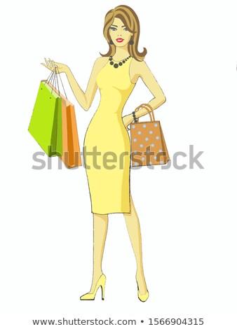 エレガントな 女性 オレンジ ショッピングバッグ 雪 少女 ストックフォト © dolgachov