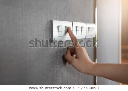 el · villanykapcsoló · ujj · fehér · fény · tányér - stock fotó © devon