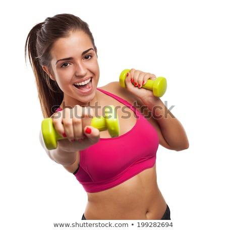 cute fitness woman holding dumbbells stock photo © rob_stark