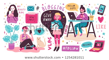Cartoon блоггер ноутбука Дать женщины набрав Сток-фото © blamb