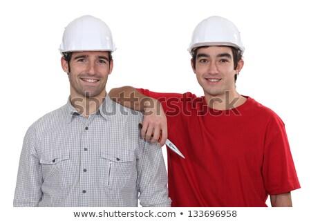 Stock photo: duo of craftsmen all smiles