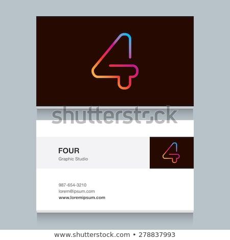 Número cuatro dígito neón luz naturales Foto stock © deyangeorgiev