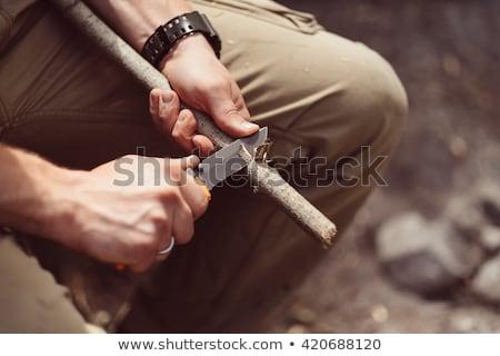Nóż odizolowany biały tekstury tle Zdjęcia stock © shutswis