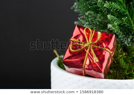 gift box golden with red ribbon stock photo © quka