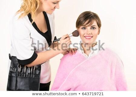 Donna polvere setola pennello faccia Foto d'archivio © wavebreak_media