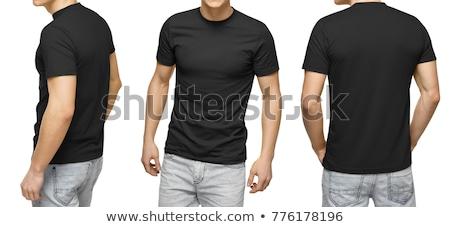 tshirt · Maakt · een · reservekopie · geïsoleerd · witte · teken · zwarte - stockfoto © ozaiachin