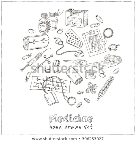 tekening · geneeskunde · hand · hart · grafiek · gezondheid - stockfoto © matteobragaglio