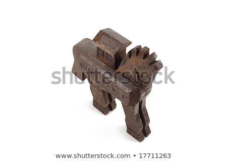 másolat · fából · készült · ló · égbolt · fa · művészet - stock fotó © wjarek