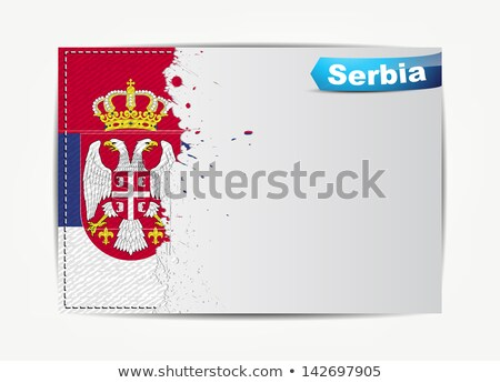 Stitched Serbia flag with grunge paper frame for your text.  Stock photo © maxmitzu