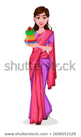 красивой · индийской · брюнетка · традиционный · моде · стиль - Сток-фото © lunamarina