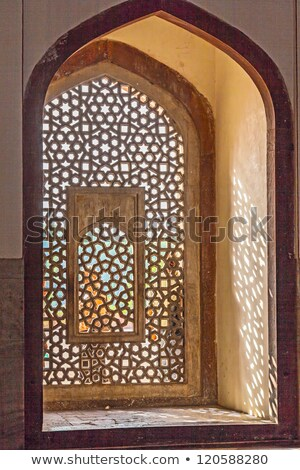 beautiful windows with ornaments in islamic style inside humayun stock photo © meinzahn