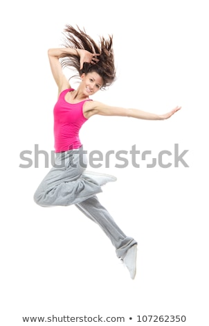 moderne · tienermeisje · danser · springen · geïsoleerd · witte - stockfoto © stepstock