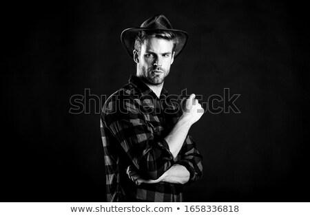 Cowboy paardrijden wild hart silhouet dapper Stockfoto © zooco