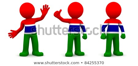 Stock photo: 3d character textured with flag of Gambia