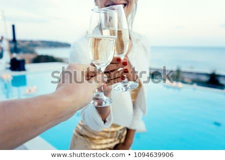 élégante champagne deux verres sombre surface Photo stock © spanishalex