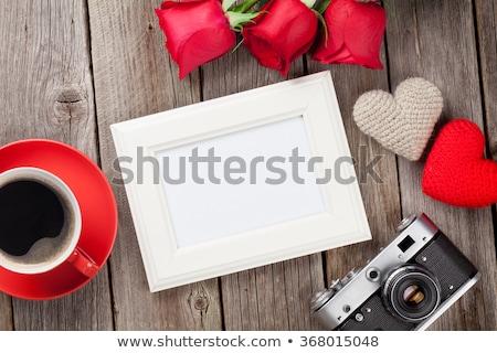 beker · koffie · drie · foto · frames · houten · tafel - stockfoto © karandaev