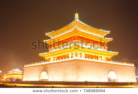 night view of the bell tower in xian stock photo © bbbar