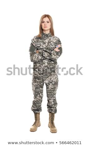 Stok fotoğraf: Kadın · asker · yalıtılmış · beyaz · arka · plan · güvenlik